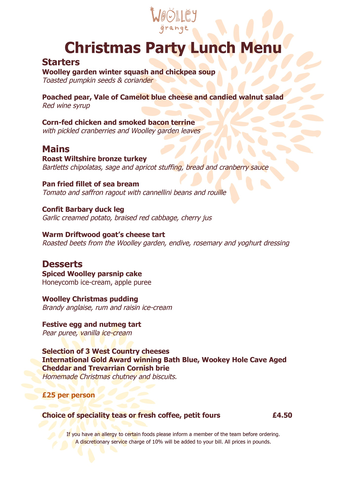 Christmas party lunch menu at Woolley Grange luxury family hotel in Bradford on Avon