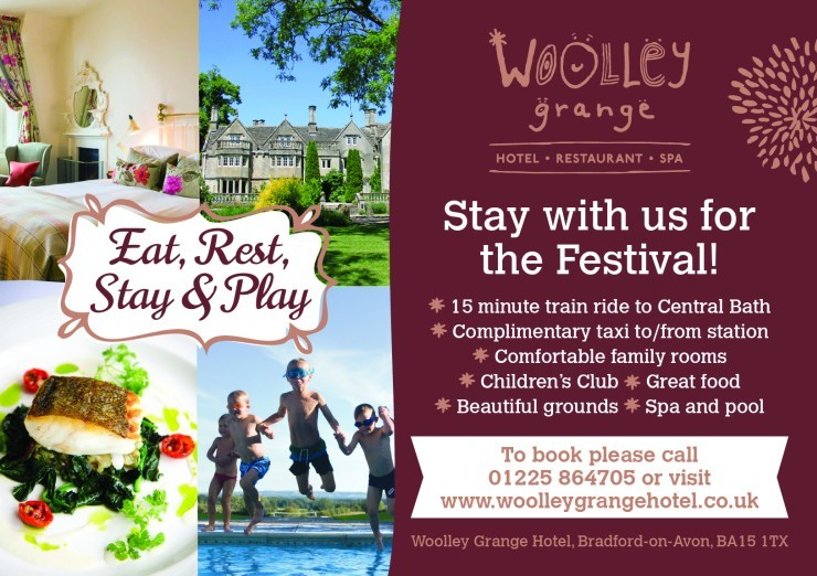 A poster for Woolley Grange luxury family hotel's special offer for the Bath Children's Literature Festival