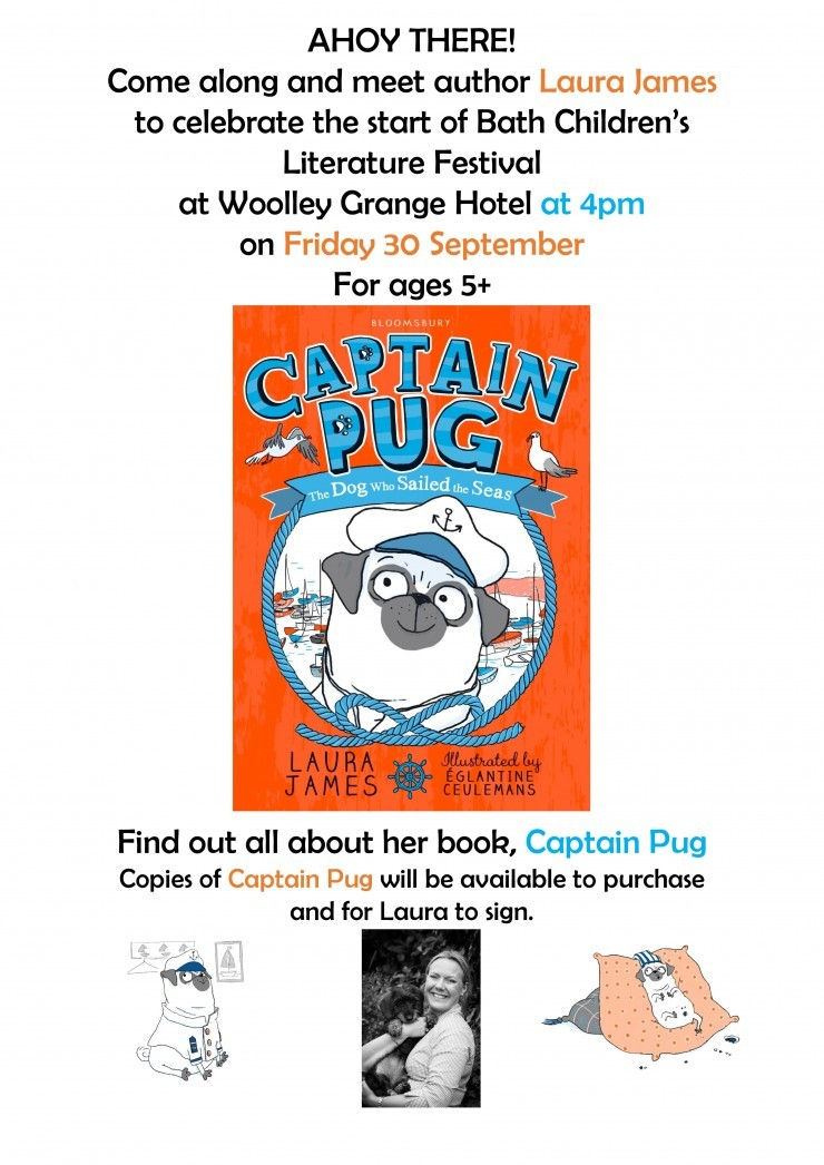 A poster for an event at Woolley Grange Hotel in Bradford on Avon for the Bath Children's Literature Festival