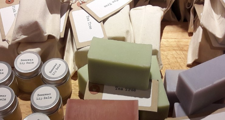 Lip balm and soaps at Woolley Grange luxury hotel and spa in Bradford on Avon