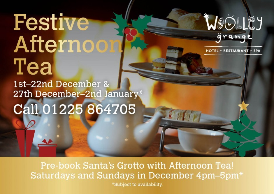 Festive afternoon tea at Woolley Grange luxury family hotel in Bradford on Avon