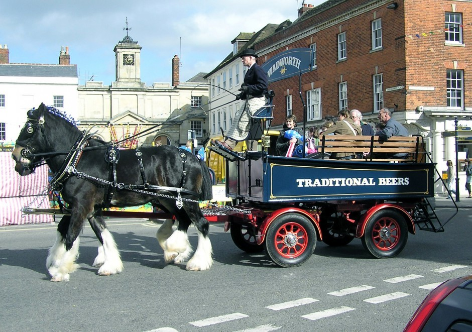 Wadworths dray horse and carriage in Devizes, close to Woolley Grange luxury family hotel