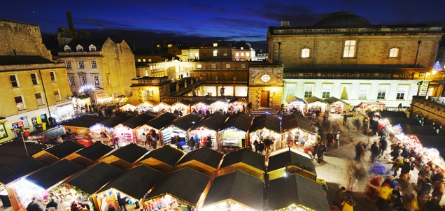 The Bath Christmas Market, a great event to visit while staying at Woolley Grange Hotel in nearby Bradford on Avon