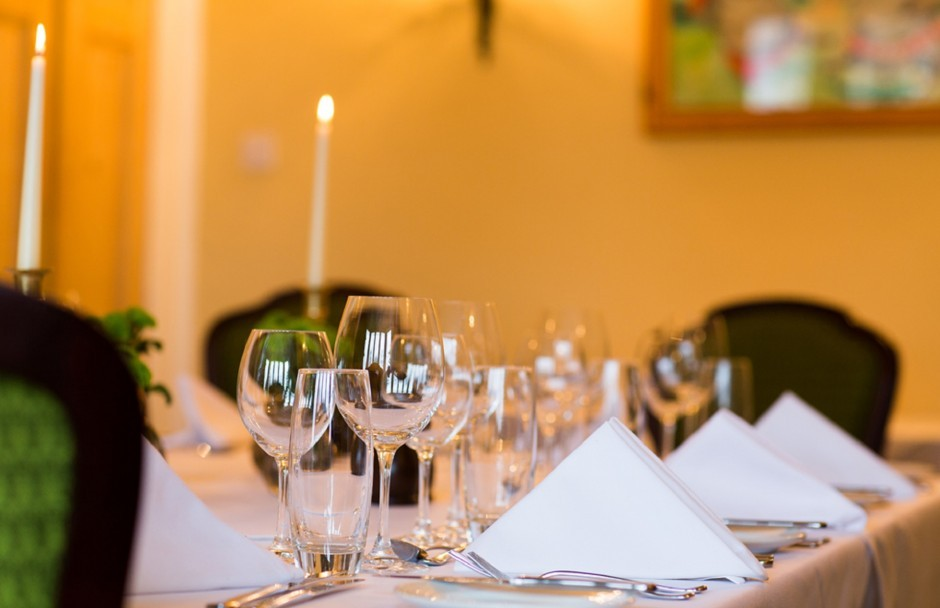 Candlelight dining at Woolley Grange luxury family hotel in Bradford on Avon