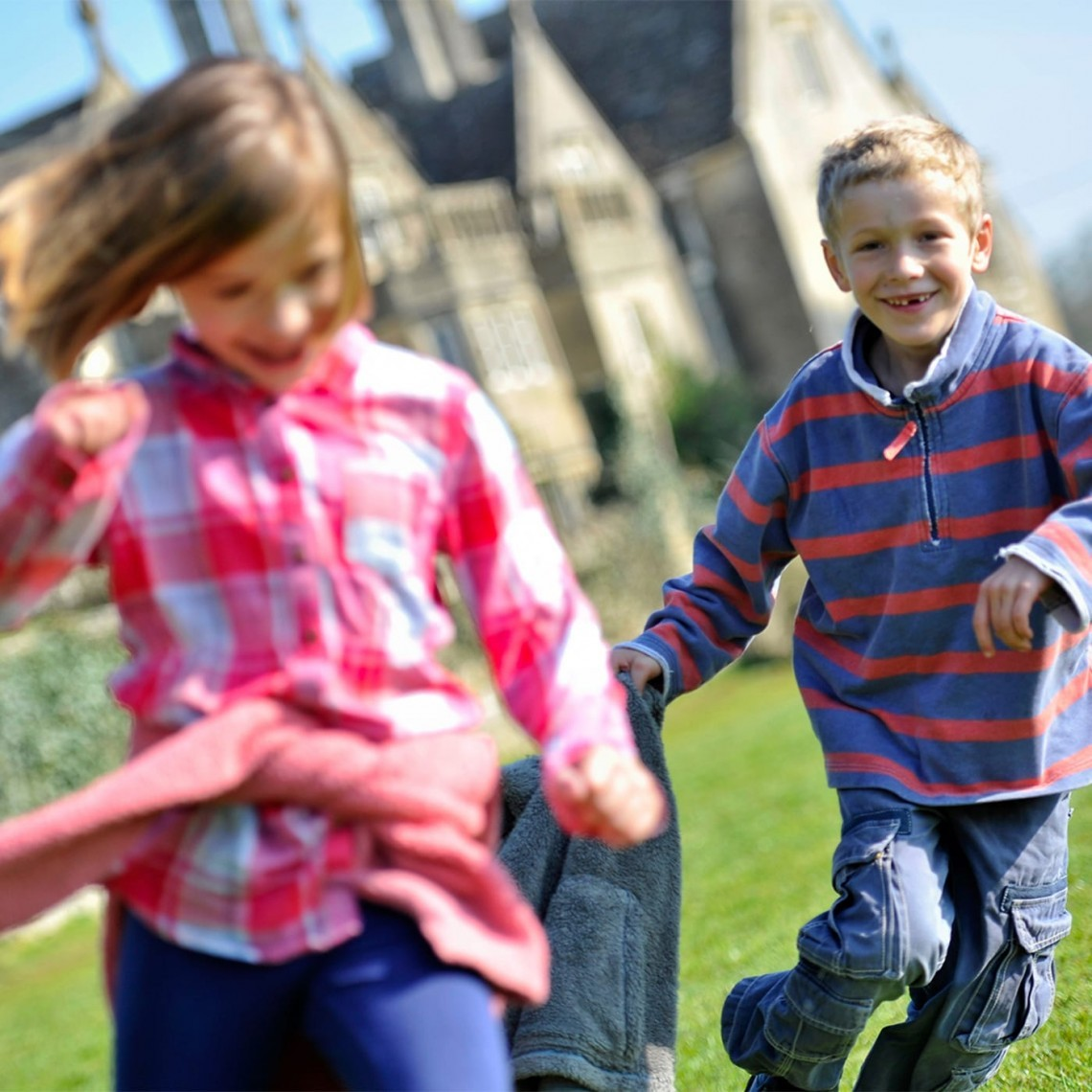 Children enjoying an activity in the grounds of Woolley Grange