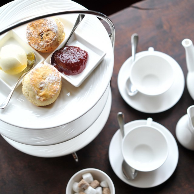 Afternoon tea at Woolley Grange hotel, Wiltshire.