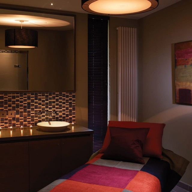 A spa treatment room at Woolley Grange hotel.
