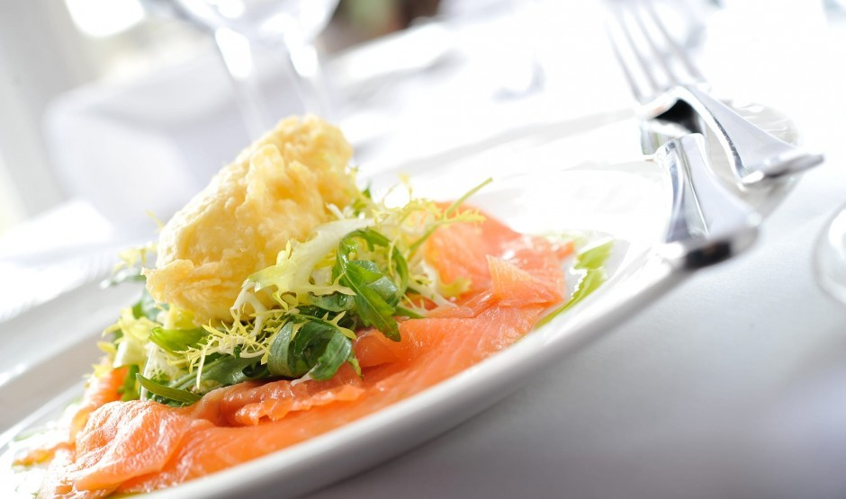 Smoked salmon dish at Wiltshire restaurant Woolley Grange