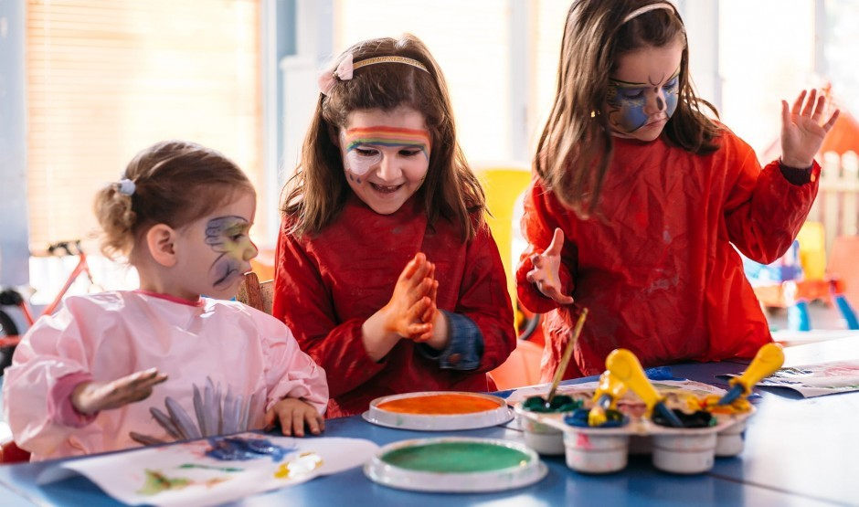 Children with faces painted at the Woolley Grange Hotel crèche