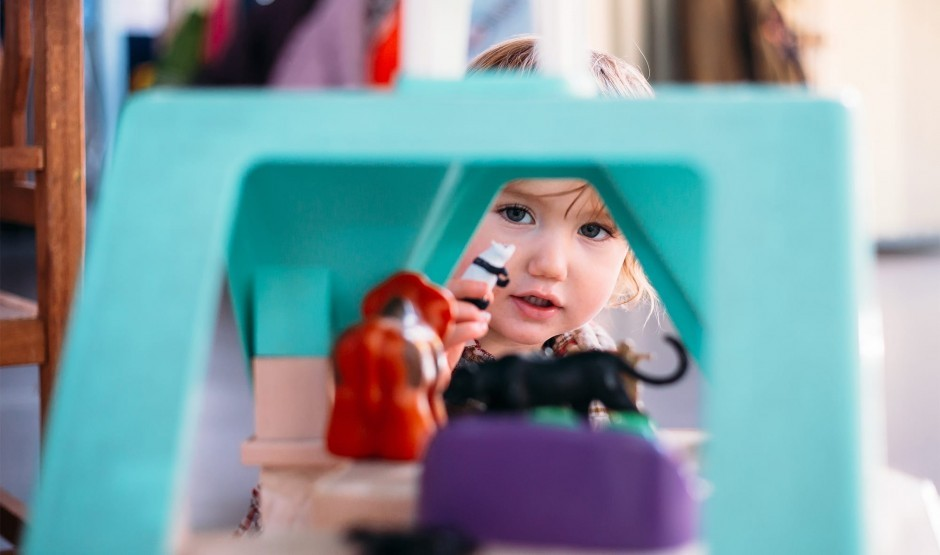 A child plays in the hotel crèche at Woolley Grange