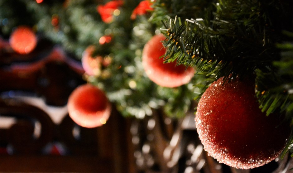 Baubles in a Christmas tree.