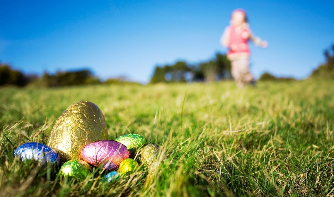 A child looks for chocolate Easter eggs.