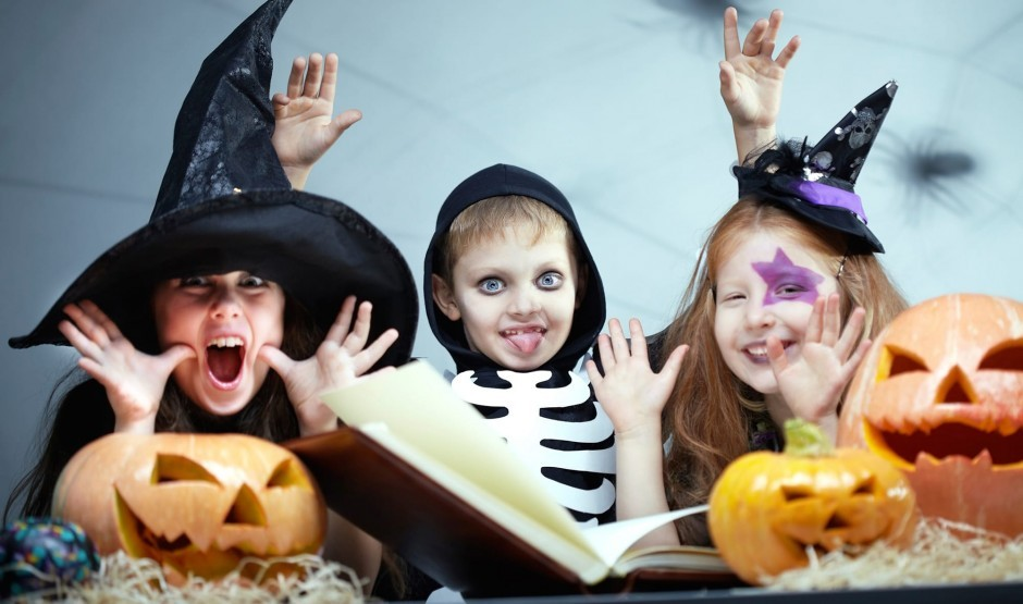 Children at Woolley Grange luxury family hotel dress up for halloween in Wiltshire