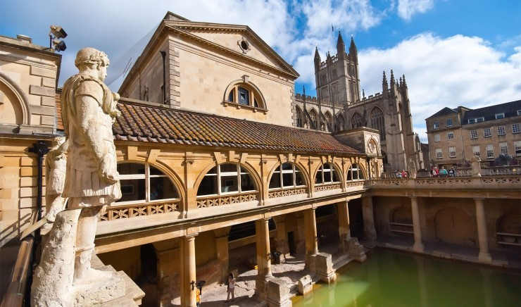 The Roman Baths in Bath, near Woolley Grange luxury family hotel in Wiltshire