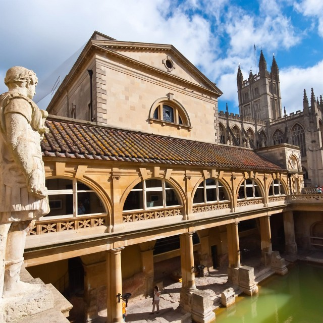 The Roman Baths in Bath, just a short trip away from Woolley Grange luxury family hotel in Wiltshire