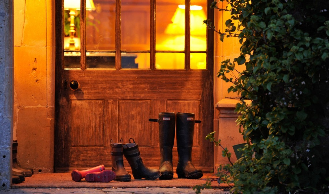 Wellington boots outside country house hotel Woolley Grange