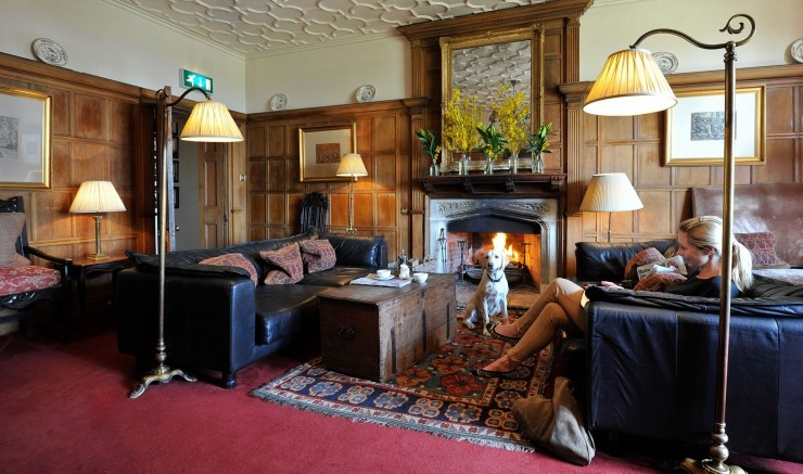 A dog and family relax in the lounge at dog-friendly hotel Woolley Grange in Wiltshire