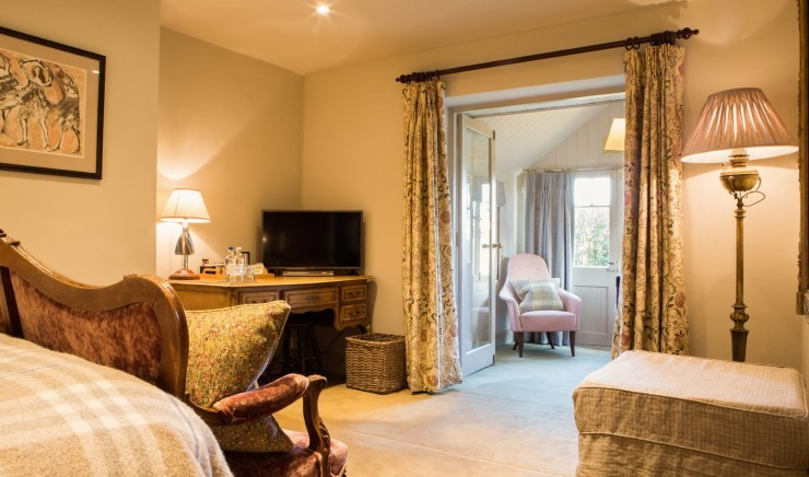 Country house hotel room at Woolley Grange in Wiltshire
