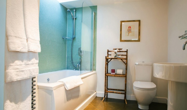 Bathroom with bath at luxury family hotel Woolley Grange