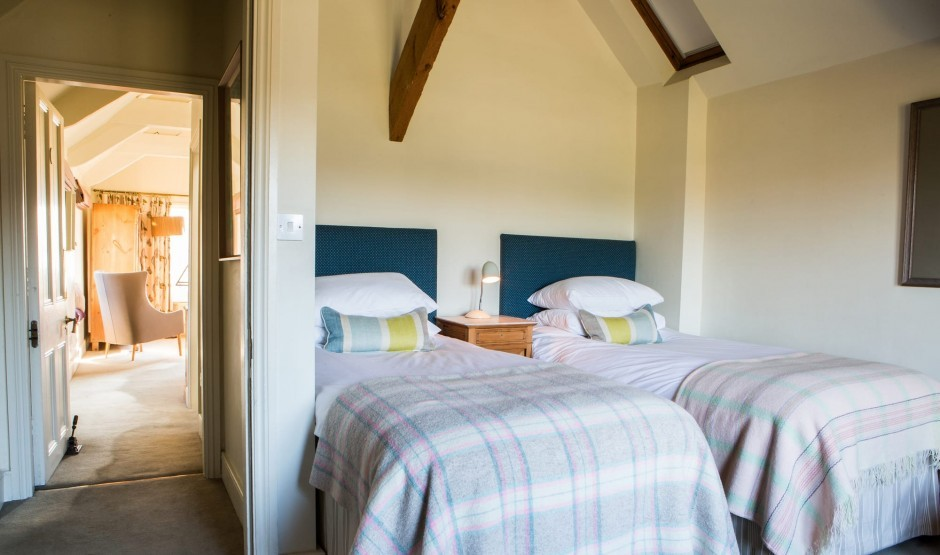 Children's beds in a large family suite at Woolley Grange in Wiltshire