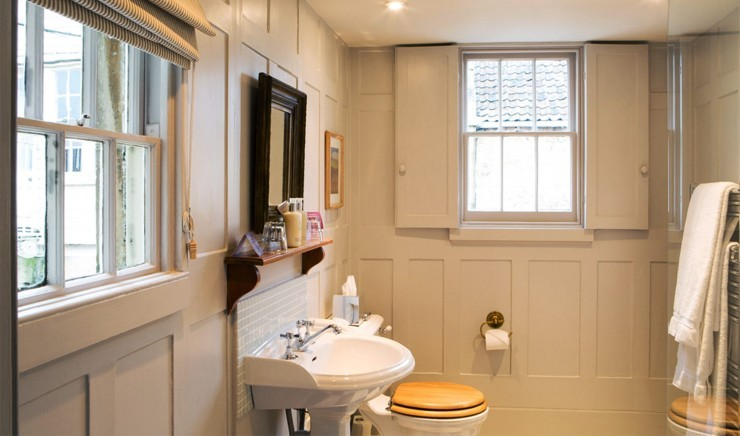 Bathroom in a small family double room at Woolley Grange