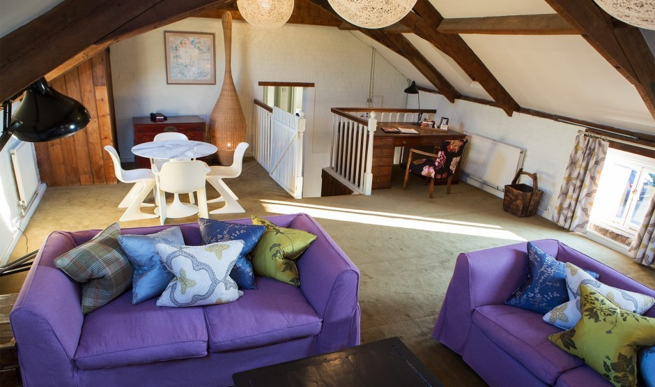 Seating area in the Hayloft family-friendly hotel suite
